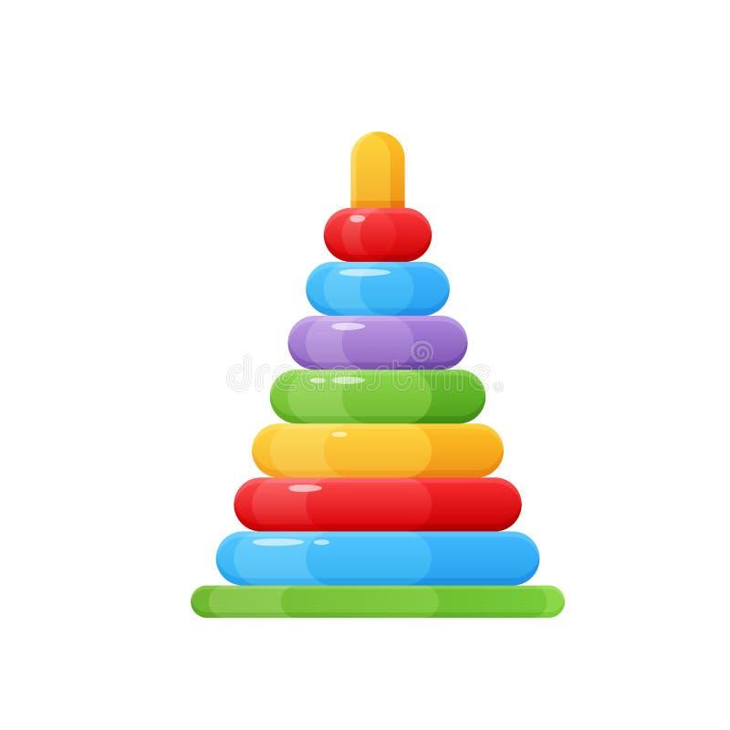 Brinquedos das crianças s, e acessórios Pirâmide do bebê, brinquedo colorido, engraçado ilustração royalty free