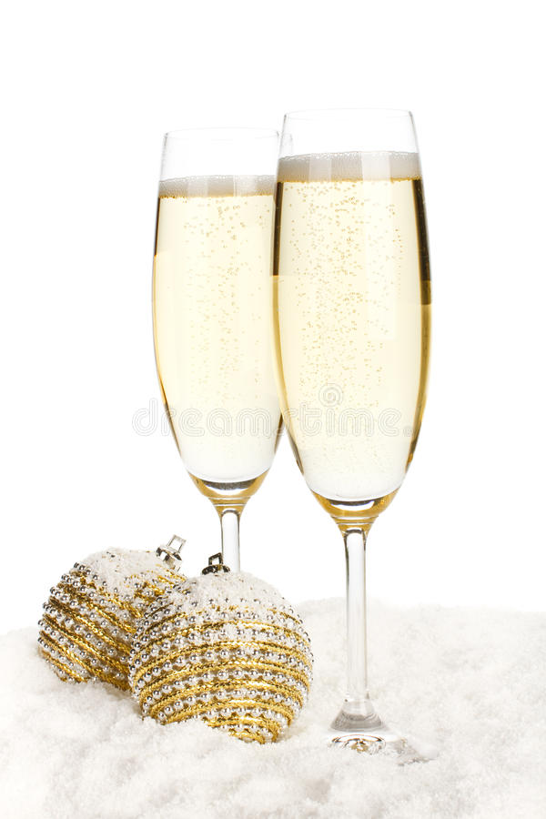 Brinquedos de Champagne e de Natal fotos de stock royalty free