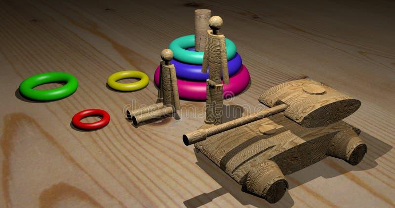 Brinquedos de madeira incomuns imagens de stock royalty free