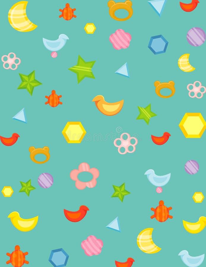 Brinquedos do bebê do papel de parede ilustração do vetor