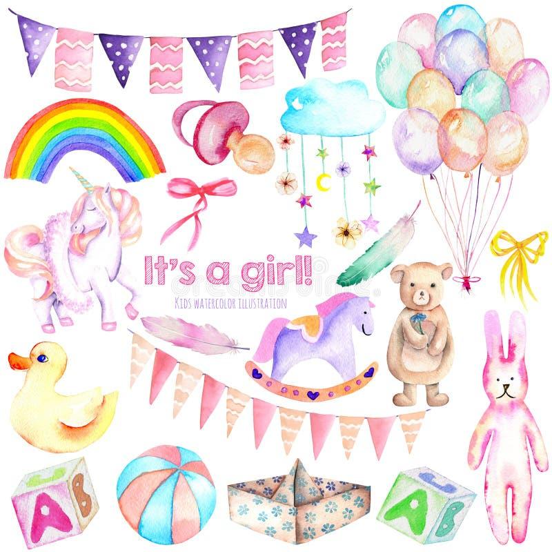 Brinquedos do grupo de elementos da aquarela do chuveiro do bebê, unicórnio, balões de ar, arco-íris, bocal, penas e outro ilustração do vetor