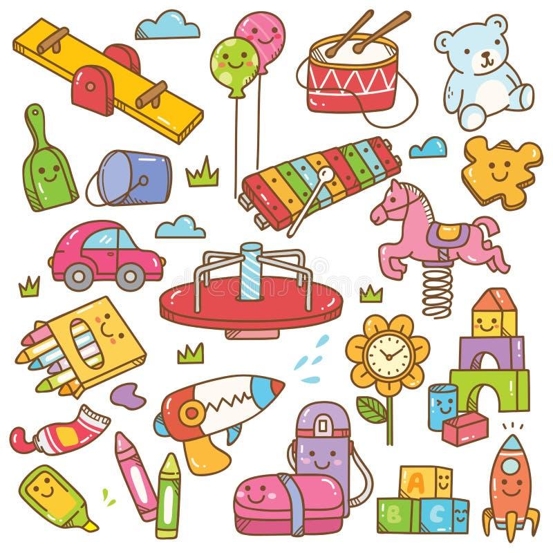Brinquedos do jardim de inf?ncia e grupo da garatuja do equipamento ilustração royalty free