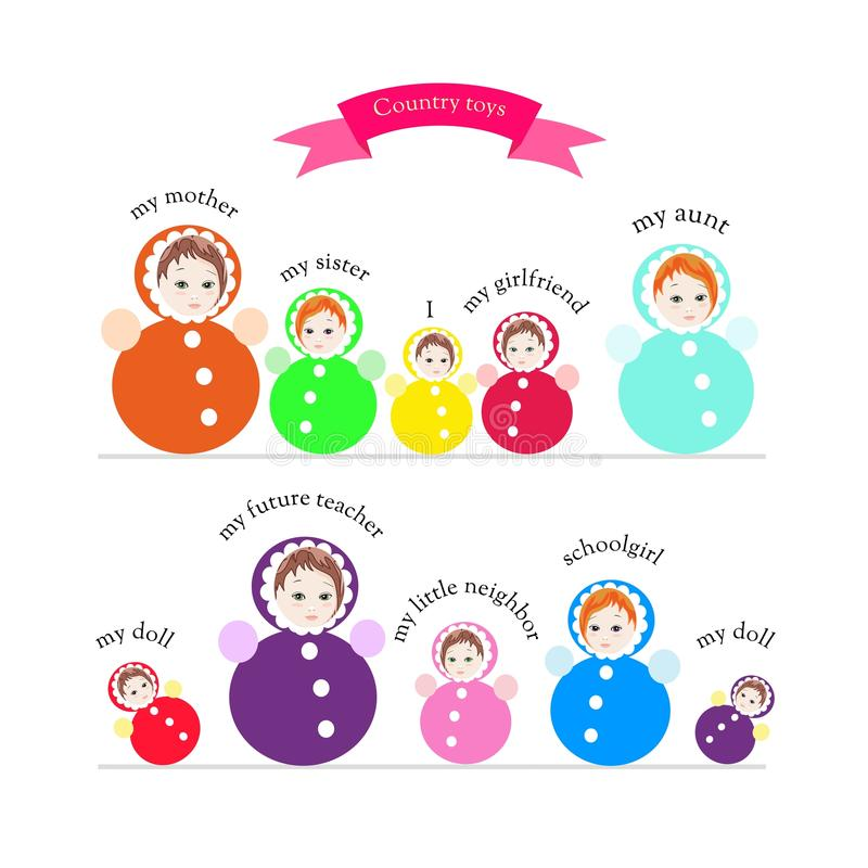 Brinquedos do país Coleção bonito de brinquedos roly-polis coloridos brilhantes ilustração royalty free