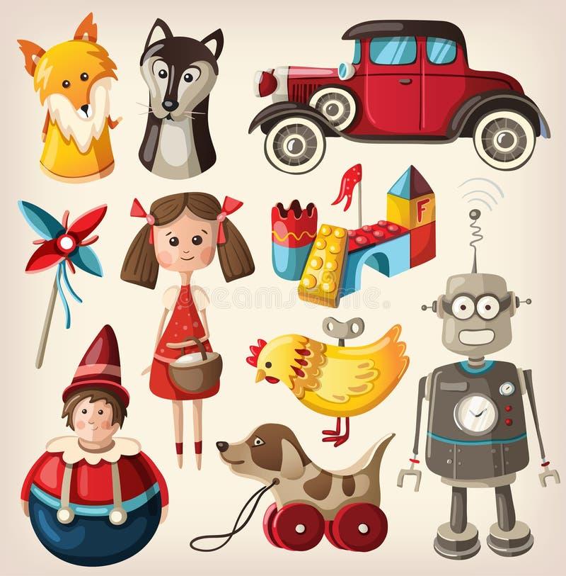 Brinquedos do vintage para crianças ilustração royalty free