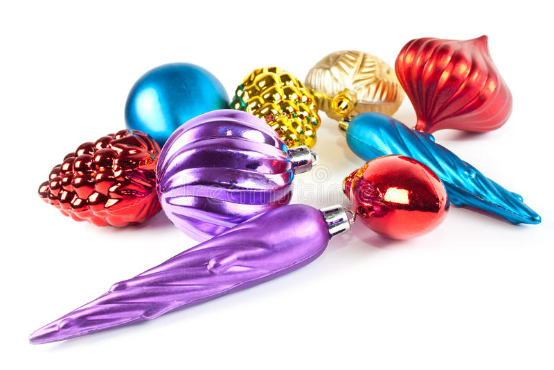 Brinquedos e esferas do Natal imagens de stock