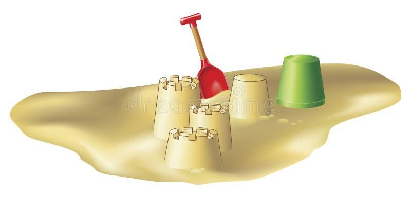 Brinquedos e sandcastles da praia ilustração royalty free