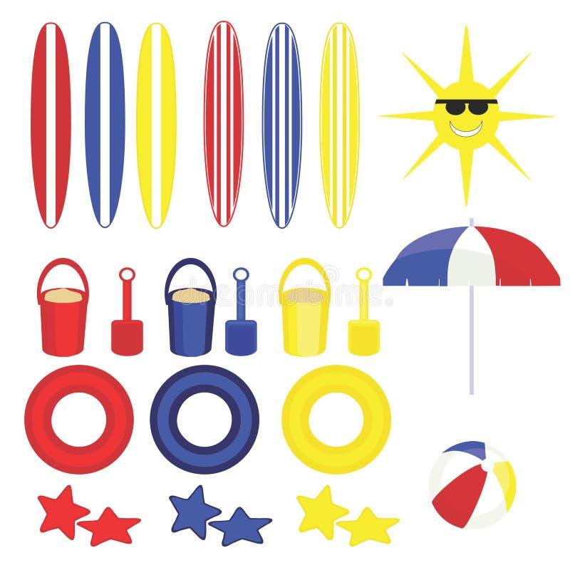 Brinquedos gráficos da praia do divertimento do verão ilustração stock