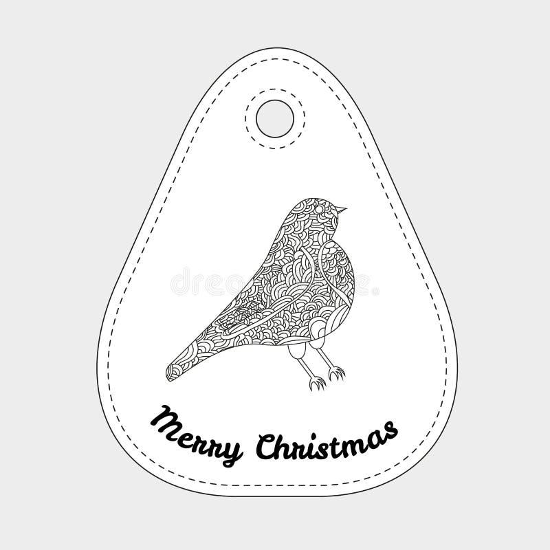 Brinquedos na árvore de Natal - pássaro Natal ilustração stock