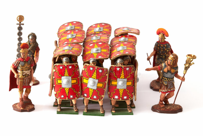 Brinquedos romanos do falange do combate imagens de stock