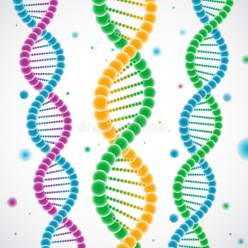 Brins colorés d'ADN illustration de vecteur