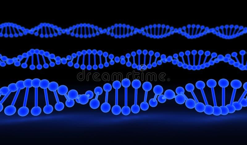 Brins d'ADN au-dessus de fond noir illustration libre de droits