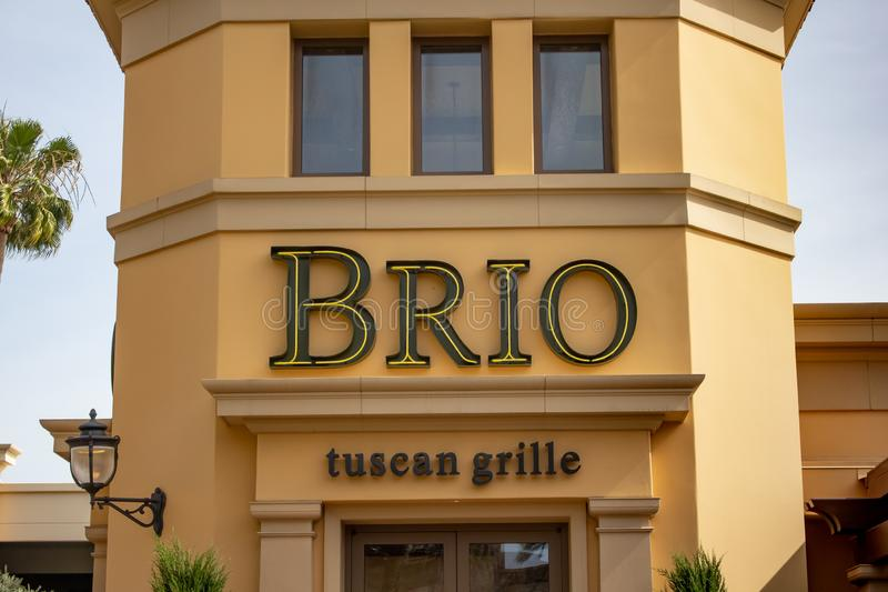 Brio restaurant sign. A store front sign for the Italian restaurant chain known as Brio Tuscan Grille, located at the Irvine Spectrum, in Irvine, California royalty free stock photography