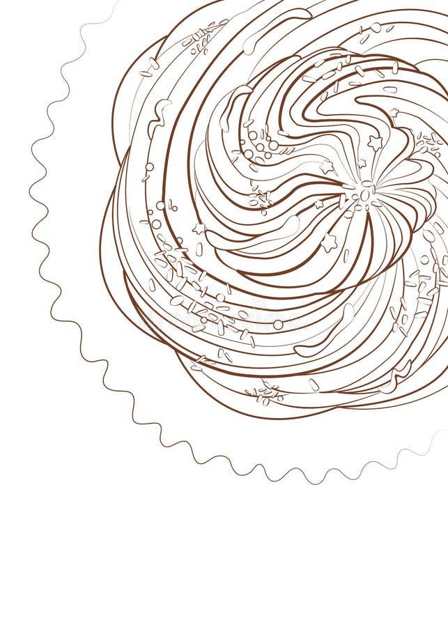 Brioche avec le macro dessin de décorations illustration libre de droits