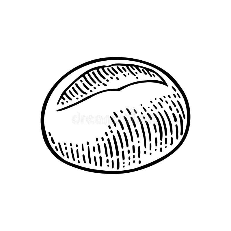 brioche Gravure tirée par la main noire de vintage de vecteur illustration stock