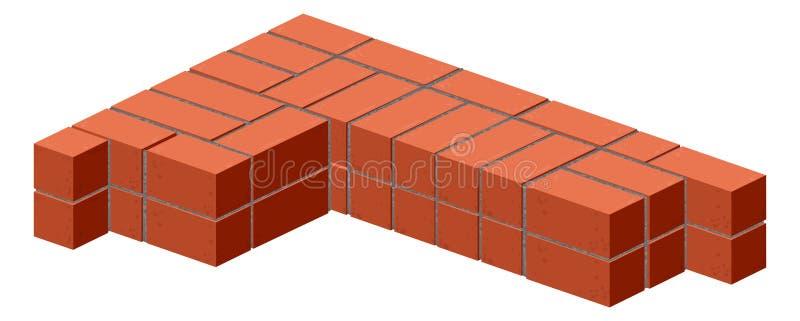 brique Briques de maçonnerie dans la moitié Construction d'un mur de briques Brique empilant le plan illustration de vecteur