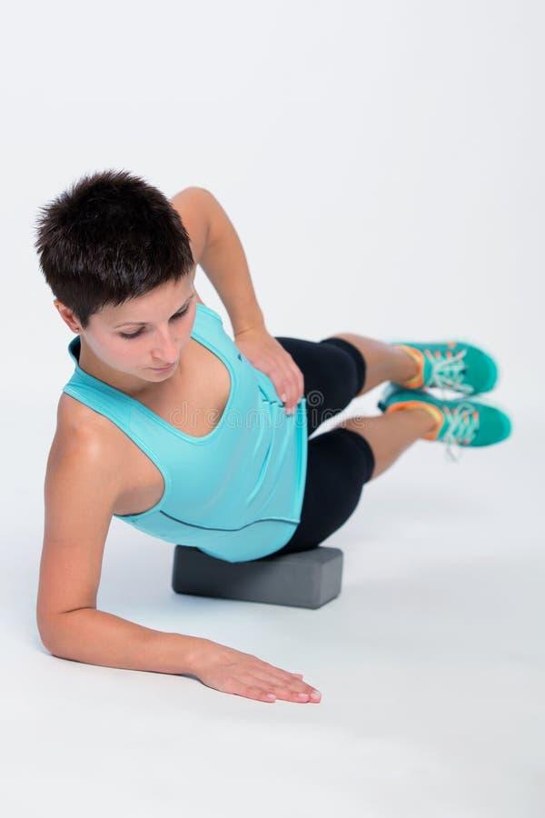 Brique de séance d'entraînement de Pilates photographie stock libre de droits