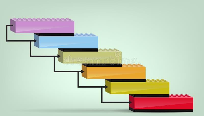 Briques empilées par tableau d'affaires illustration libre de droits