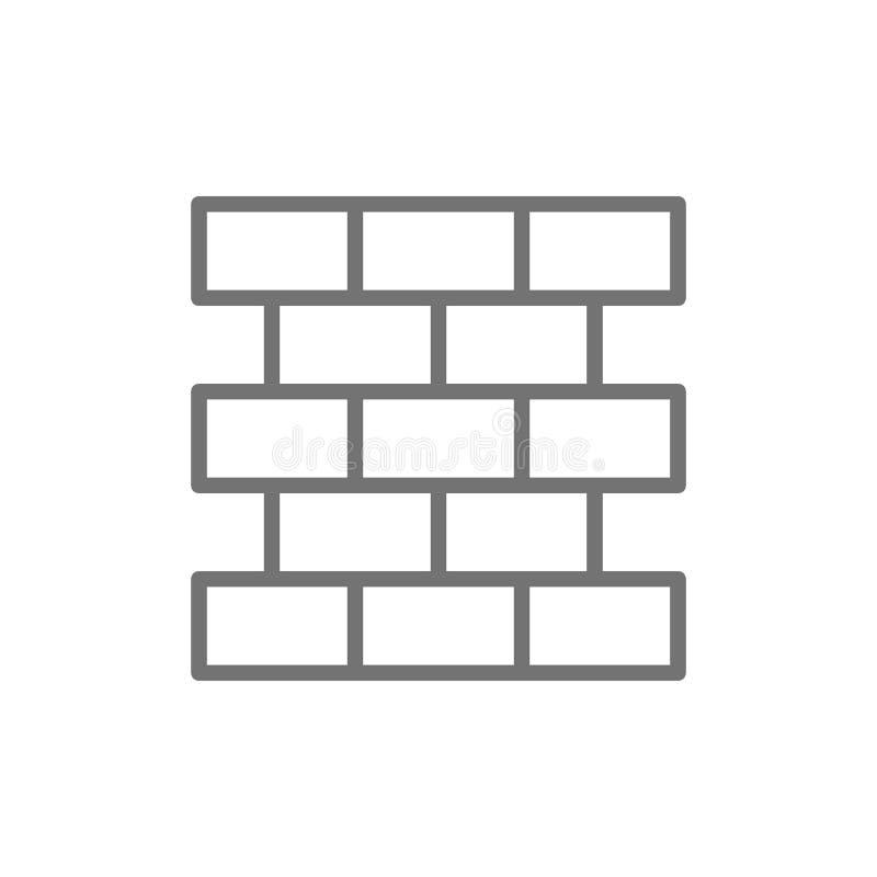 Briques, mur, ligne icône de brique illustration libre de droits