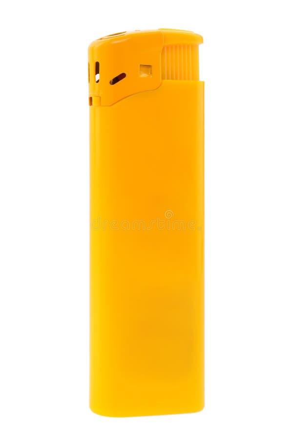Briquet jaune d'isolement sur le fond blanc images stock