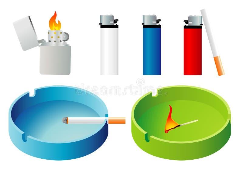 Briquets et cendrier illustration de vecteur