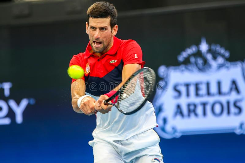Brisbane ATP Cup 2020, Serbia vs Chile stock images