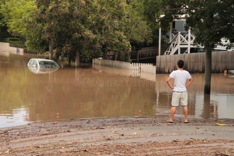 BRISBANE, AUSTRÁLIA - JANEIRO 13: Inundação foto de stock royalty free