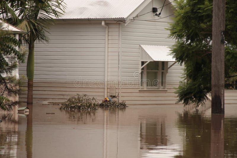BRISBANE, AUSTRALIË - 13 JANUARI: Vloed royalty-vrije stock afbeelding