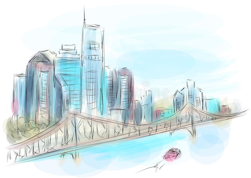 Brisbane australia. Abstract vulicolor bkkestration of city stock illustration