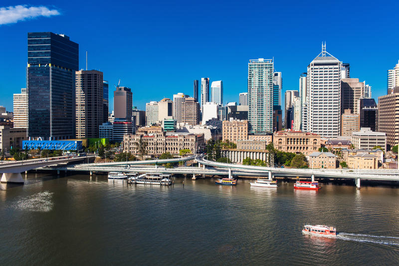 BRISBANE, AUSTRALIA-DECEMBER 29 2013:View of Brisbane from South royalty free stock photography