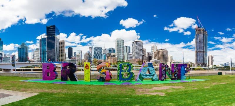 BRISBANE, AUSTRALIA - FEB 12 2016: Brisbane sign returned to Sou. Th Bank, originally created for G20 Cultural Celebrations royalty free stock images