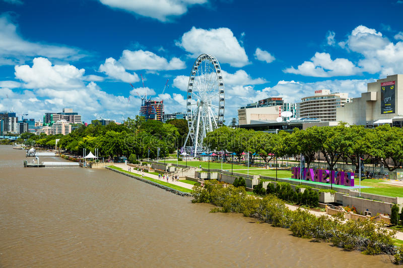 BRISBANE, AUSTRALIA - FEB 12, 2016: Southbank Parklands and the. Brisbane Wheel, located on the southern bank of the Brisbane river stock image