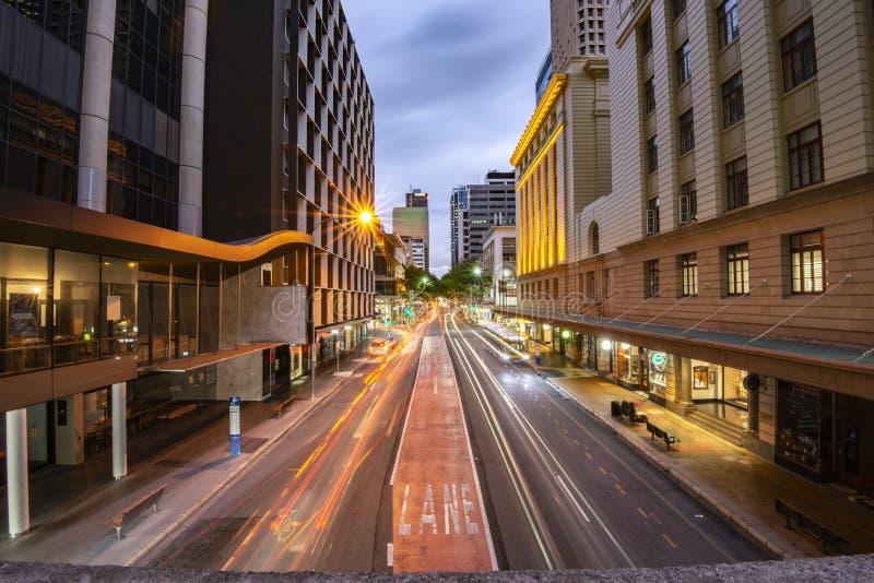 Brisbane, Australia - Saturday 28th April, 2018: View of traffic on Adelaide street in Brisbane CBD at night. royalty free stock photo