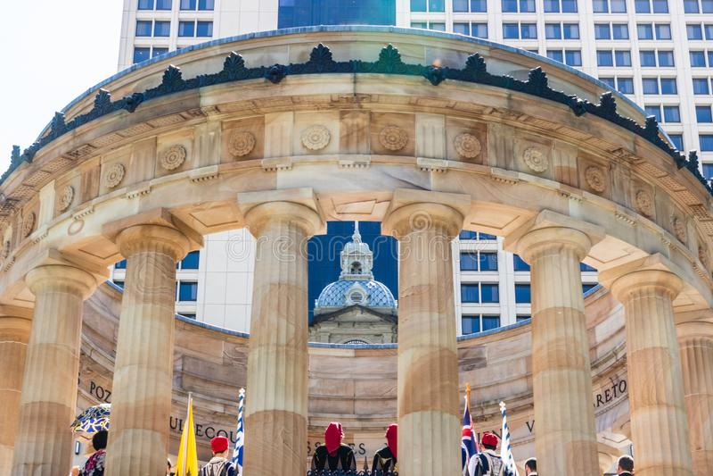 Brisbane Australien - 2019 Anzac minnesmärke för australisk och nyazeeländsk armékår, Brisbane, Australien fotografering för bildbyråer