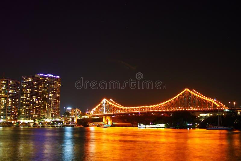 Brisbane bridge nocy historia obraz royalty free