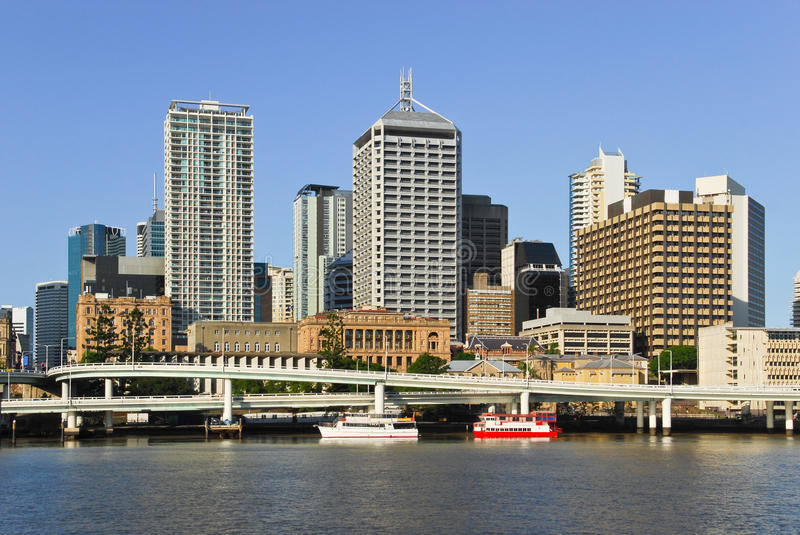 Brisbane central business district. Brisbane, the third largest city in Australia and the capital and most populous city in Queensland, a view from the South stock photo