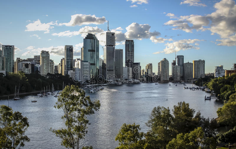 Brisbane City, Australia. Sunny Brisbane city, Australia in June. A view of Brisbane central business district across the Brisbane river from Kangaroo Point look royalty free stock photos