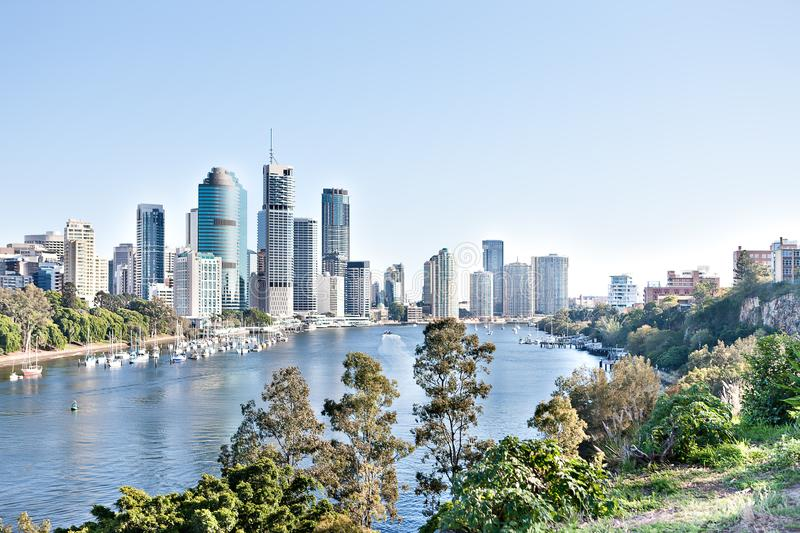 Brisbane City building with river around trees at sunny day royalty free stock photos
