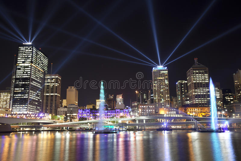 Brisbane City of Lights Laser Display royalty free stock images