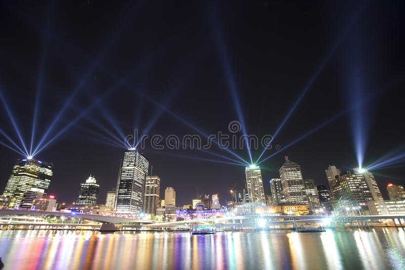Brisbane City of Lights Laser Show stock photography