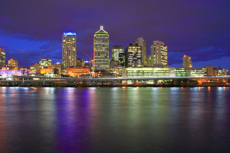 Download Brisbane City Night stock image. Image of downtown, scene - 3435231