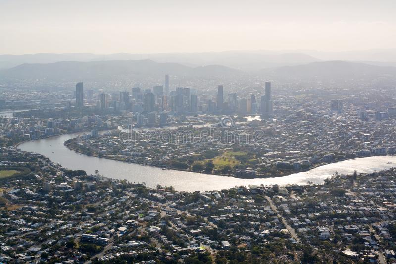 Brisbane City & River Aerial View in Late Afternoon Sunshine stock photography