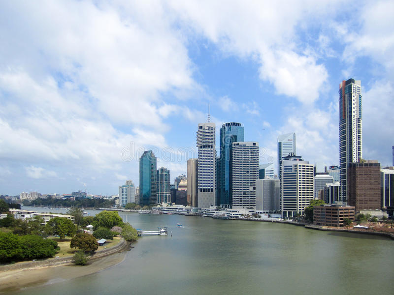 Brisbane City and River, Queensland, Australia. The central business district of Brisbane, Australia, sits on the side of the meandering Brisbane River stock images
