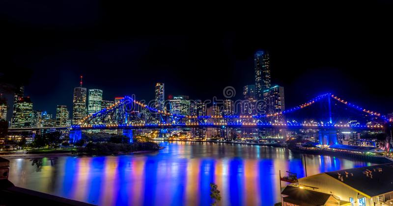 Brisbane city skyline and story bridge at night. royalty free stock photos
