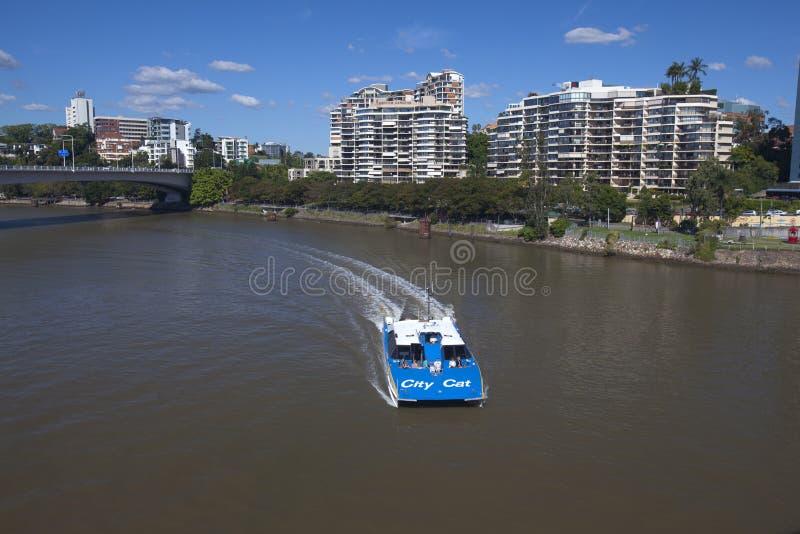 Brisbane CityCat on Brisbane River stock photo