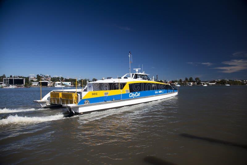 Brisbane CityCat on Brisbane River stock image