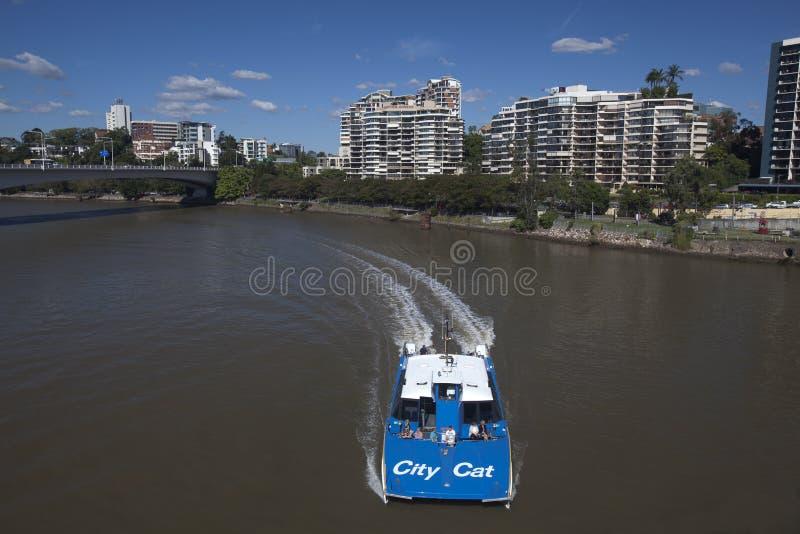 Brisbane CityCat passes underneath stock photos