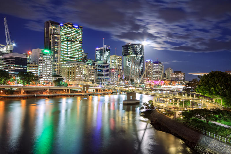 Brisbane la nuit photographie stock