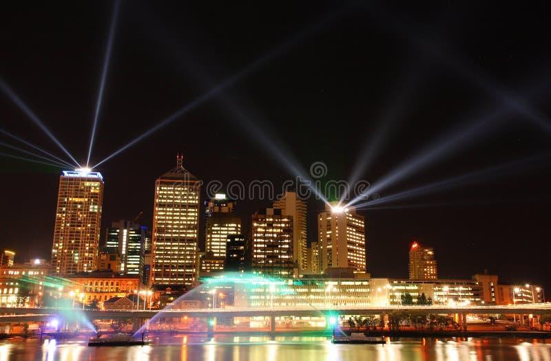 Brisbane Laser-show Arkivfoto