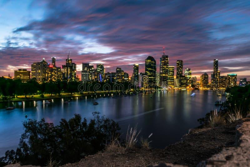 Brisbane at night from kangaroo point cliffs royalty free stock photos