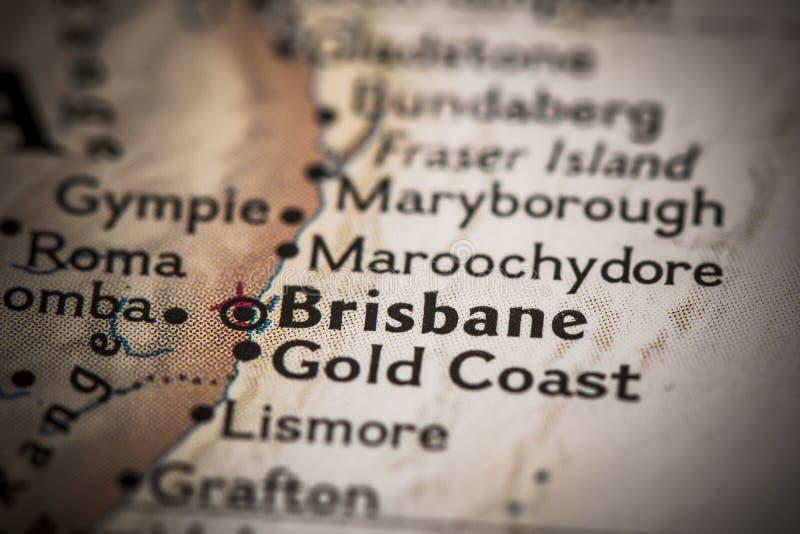 Brisbane op kaart stock afbeeldingen